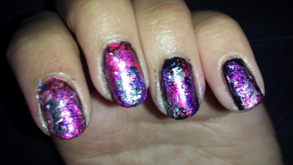 pink foil nails