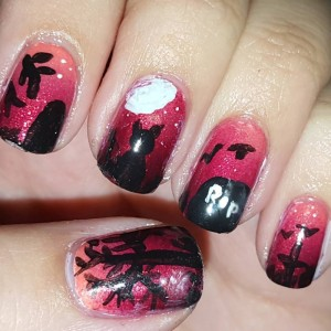 Day 12 of the Halloween nail art challenge graveyards #bootifulnails #nails #nailartblogger #nailart #manicure #blogger #nailpolish #notd #nailartchallenge #nailsofinstagram #nailstagram #nails4yummies #newstuff #nails #love #naildesigns #nailartsupplies #nailartproducts #handpainted #nailartcommunity #nailartclub @chinaglazeofficial #opinailpolish #opi #chinaglaze #halloween #halloweennails #fun #gradientnails