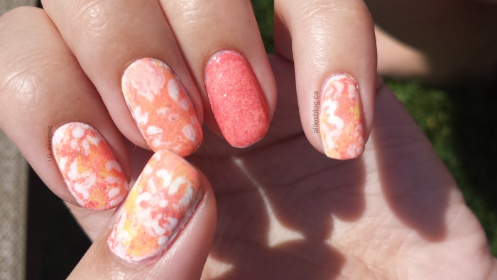 coral splash nails|nail art|alliesblog.ca|sponging nails|may 21 2014