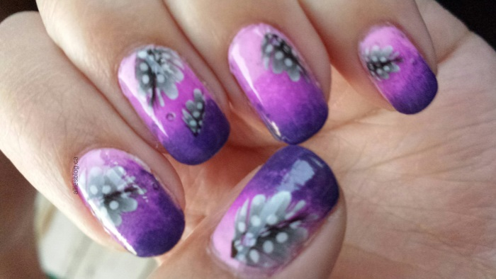purple feathers|may 26 2014}water decals|ombre nails