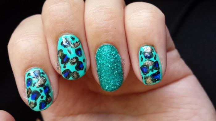 Mint leopard nails |glitter nails|June 25 2014