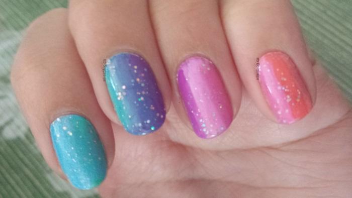 rainbow nails|sponging|June 9 2014