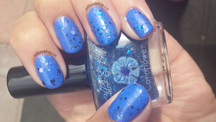 Chloe&bella nail polish|cornflower|glitter polish|july 30 2014