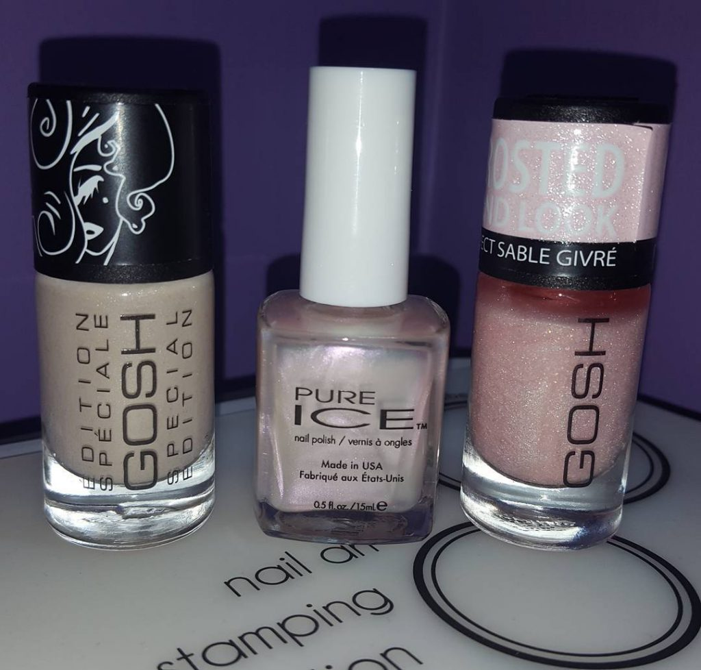 Picked up some netural glittered polishes from officialpureice and goshcosmeticshellip