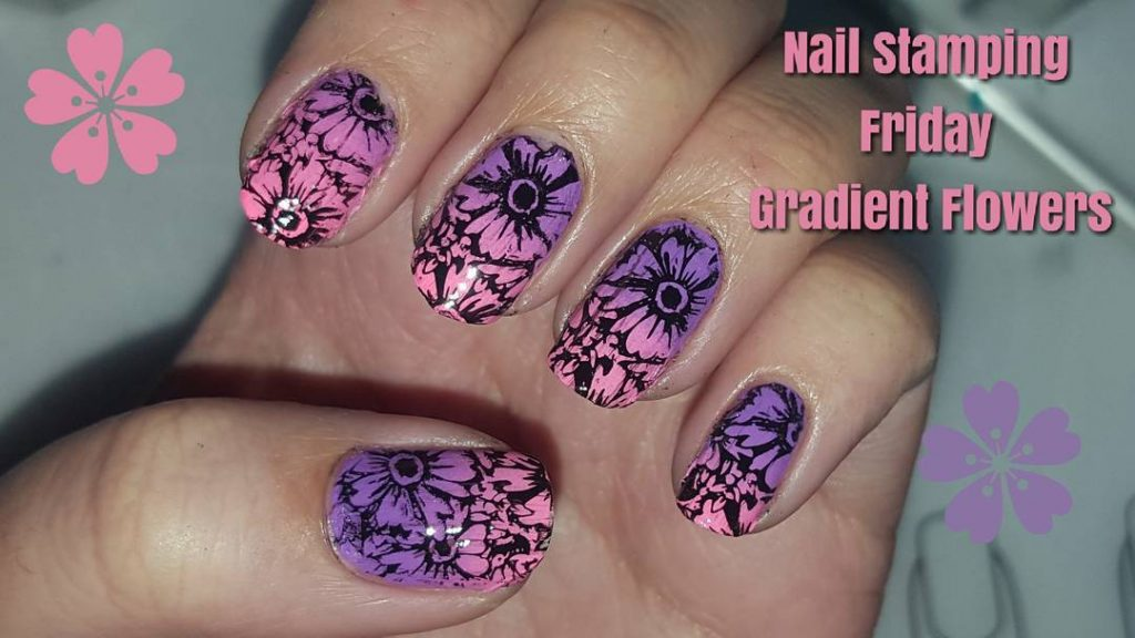Did you see my nail stamping friday nails! Gradient flowershellip
