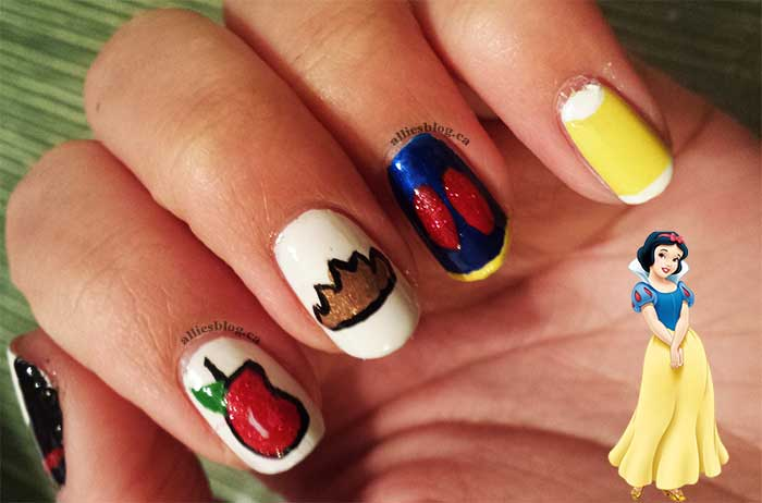#disneyprincessnaildesignchallenge|alliesblog|disneyprincess|disneyprincessnailart| snow white nails | disney princess