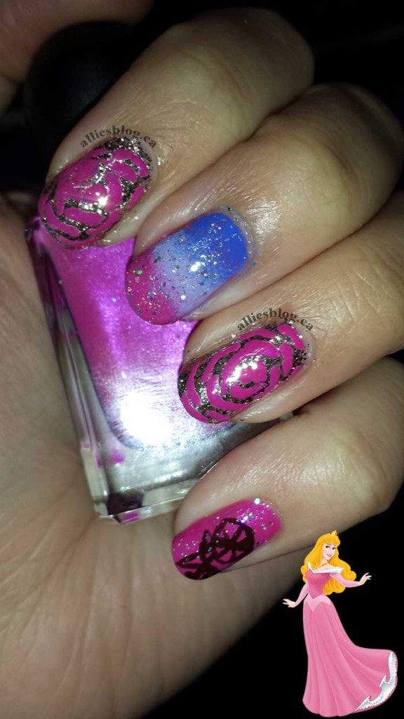#disneyprincessnaildesignchallenge|alliesblog|disneyprincess|disneyprincessnailart| sleeping beauty aurora nails