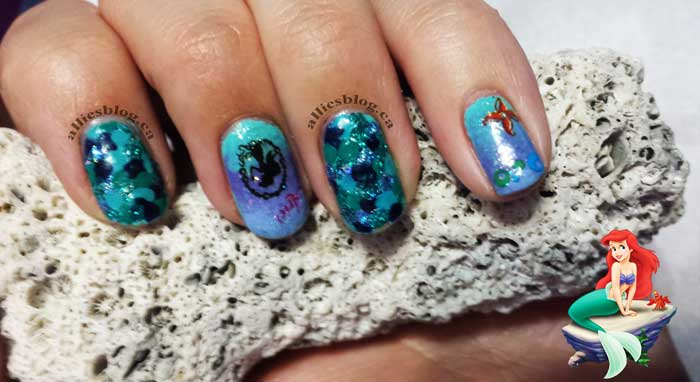 #disneyprincessnaildesignchallenge|alliesblog|disneyprincess|disneyprincessnailart| little mermaid ariel nails