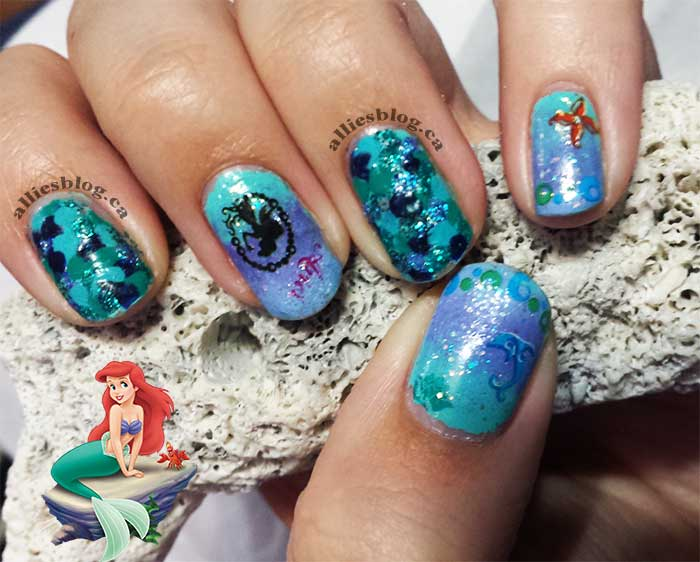 #disneyprincessnaildesignchallenge|alliesblog|disneyprincess|disneyprincessnailart| little mermaid ariel nails