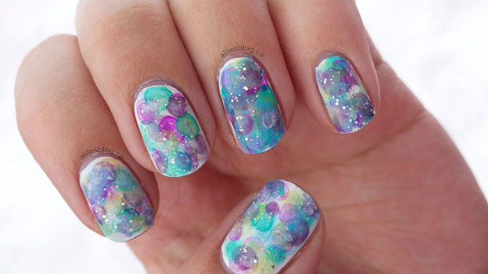 water colour nails | nimbus nails | alliesblog.ca | rainbow nails |