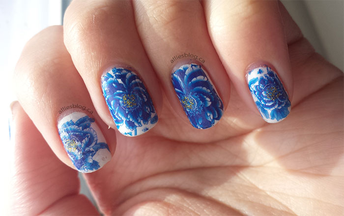 born pretty store | water decals | blue flower nails | blue and white nails