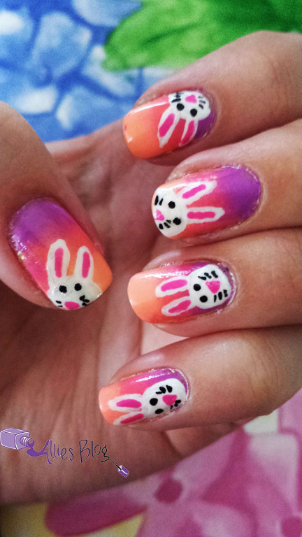 easter|easter bunny nails | bunny nails | gradient nails | china glaze | color club