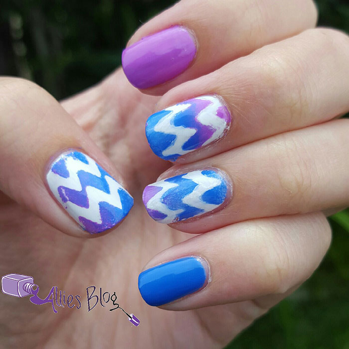 purple and blue gradient chevron nails | using bornprettystore chevron stickers | #omd3nails