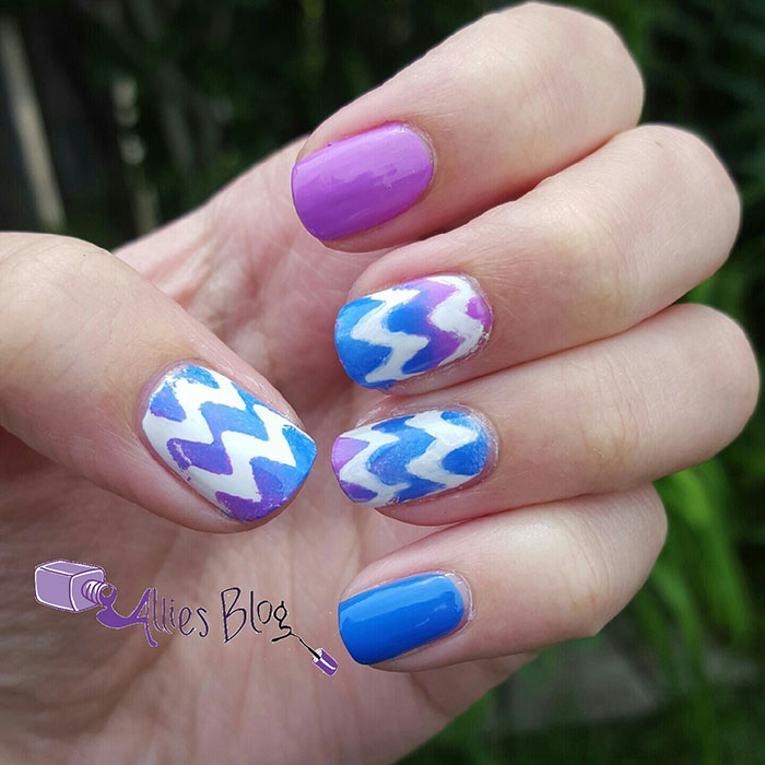 purple and blue gradient chevron nails | using bornprettystore chevron stickers | #omd3nails