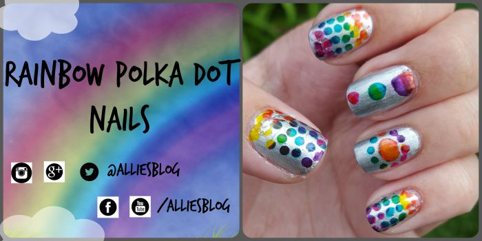 rainbow polka dot nails using bornprettystore vinyls