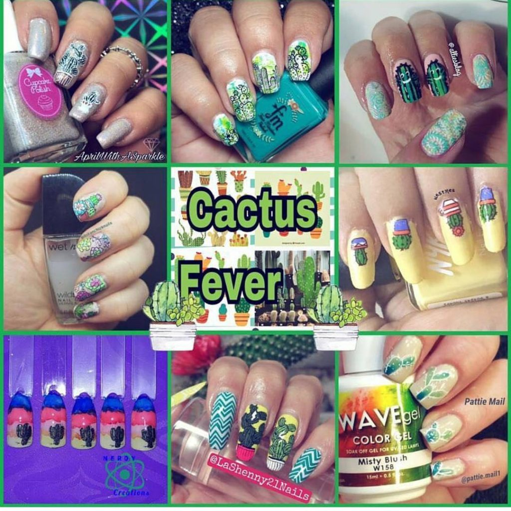 Todays cactus nails for the youtubers nail art stamping weeklyhellip