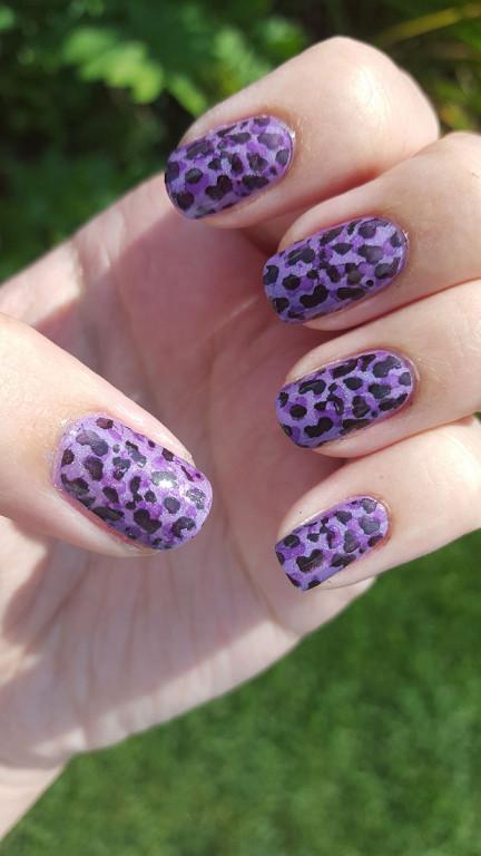 31 day challenge | #31dc2015 | day 6 violet nails | violet leopard print | stamping nails