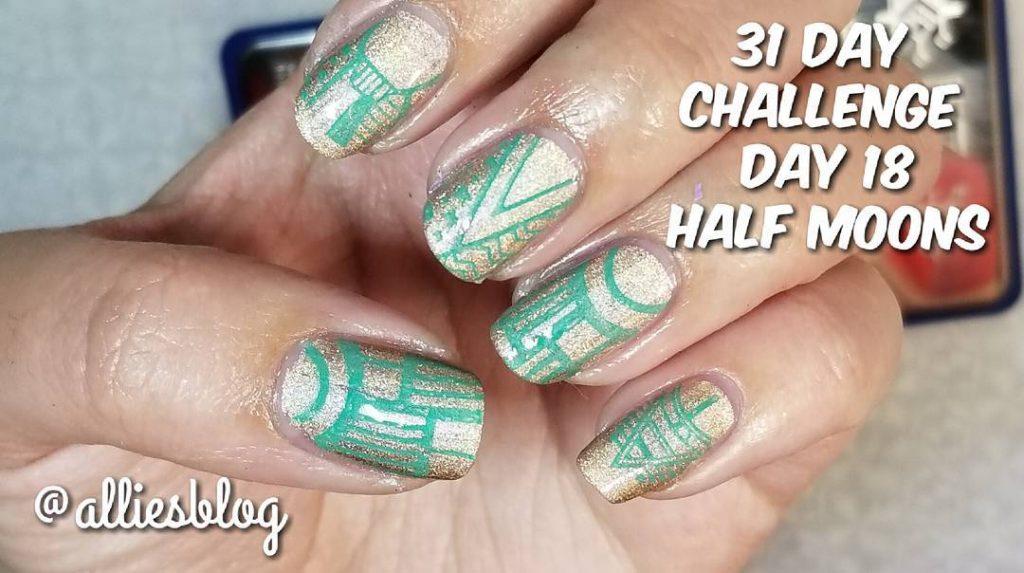 Todays 31 Day challenge day 18 mani! Using moyranailpolishandstamping polishhellip